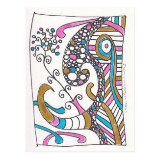 más doodles de abril tarjeta postal