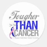 Más duro que el cáncer - cáncer de pecho masculino pegatina redonda