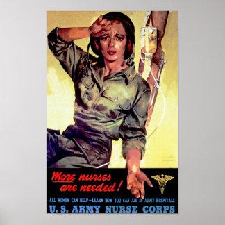 Más enfermeras son cuerpos de enfermera necesarios póster