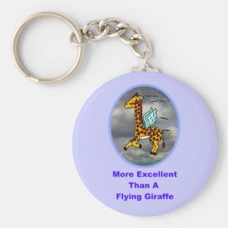 Más excelente que una jirafa del vuelo llavero redondo tipo pin