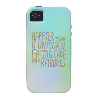 Más feliz que un unicornio que come la torta en un vibe iPhone 4 fundas