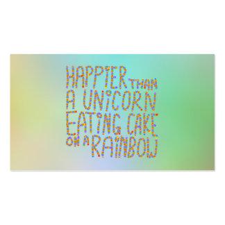 Más feliz que un unicornio que come la torta en un tarjetas de visita