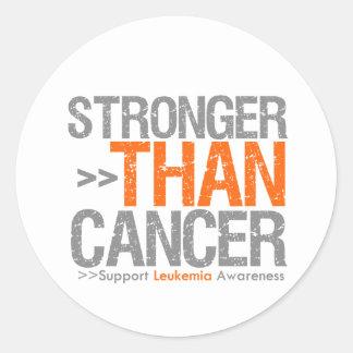 Más fuerte que el cáncer - leucemia pegatina redonda