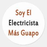 Mas Guapo del EL Electricista de la soja Pegatina Redonda
