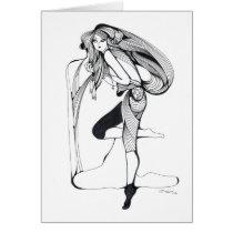 artsprojekt,white,jolly,joy,joyfull,cheerful,happiness,girl,black,minimalism,inspiration,hilarious,beauty,illustration,portrait,patricia,vidour,paradise,dreamer,watercolor,artistic,cretive,creation,female,entertainment,minimalist,drawing, Card with custom graphic design