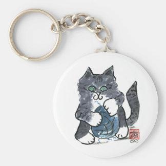 Más juego del hilado por el gatito gris del tigre, llaveros personalizados