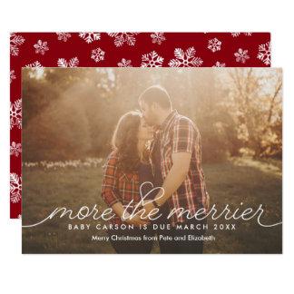 """Más la tarjeta de Navidad más feliz del embarazo Invitación 5"""" X 7"""""""