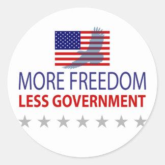 Más libertad menos gobierno etiqueta redonda