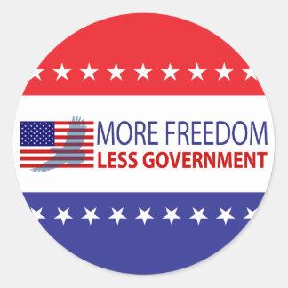 Más libertad menos gobierno pegatinas redondas