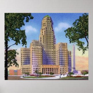Más nuevo ayuntamiento Nueva York del búfalo Póster