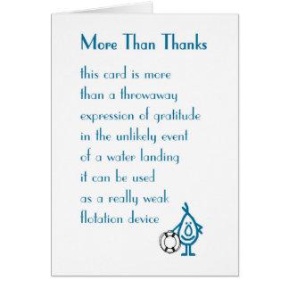 Más que gracias - un divertido le agradece poema tarjeta de felicitación