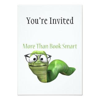 Más que gusano de libro elegante del libro invitación 12,7 x 17,8 cm