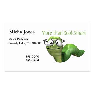 Más que gusano de libro elegante del libro plantillas de tarjetas de visita