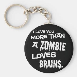Más que un zombi ama cerebros llavero redondo tipo pin