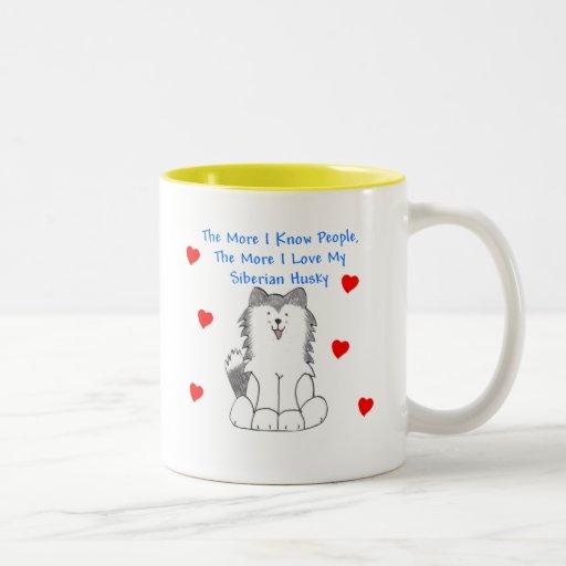 Más sé el husky siberiano de la gente taza de café
