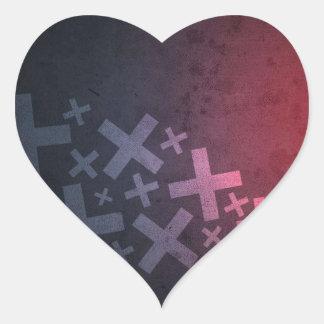 Más y x negros rojos abstractos pegatina en forma de corazón