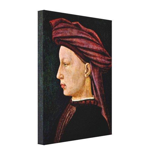 Masaccio - Portrait of a young man in profile Stretched Canvas Print