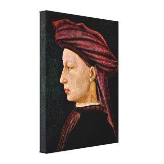 Masaccio - retrato de un hombre joven en perfil impresiones en lona