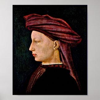 Masaccio - retrato de un hombre joven en perfil póster