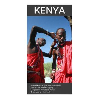 Masai groom gets ready for his wedding in Kenya Card