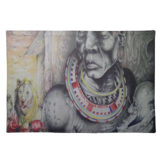 Masai personalizado Placemats de los leones de Hak Manteles Individuales