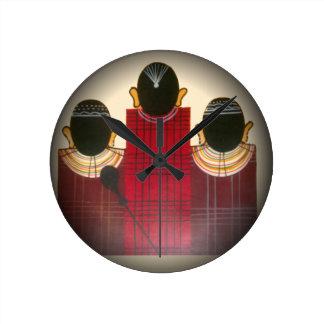 Masai tribal étnico africano hermoso Ornaments.pn Reloj Redondo Mediano