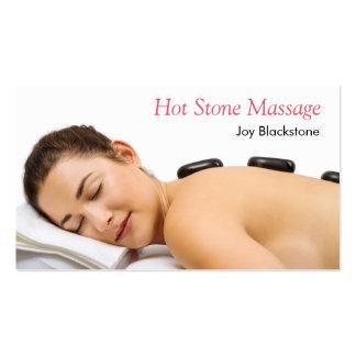 masaje de piedra caliente tarjetas de visita