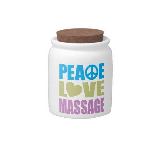 Masaje del amor de la paz jarra para caramelo