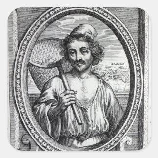 Masaniello, engraved by Petrus de Iode Square Sticker