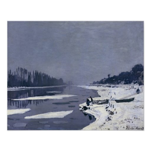 Masas de hielo flotante de hielo en el Sena en Bou Impresiones