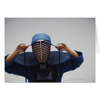 Máscara 2 de la cerradura del cercador de Kendo Tarjeta De Felicitación