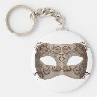 Máscara adornada de Scrollwork Llavero Redondo Tipo Pin