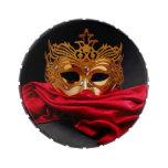 Máscara adornada para la mascarada en el terciopel frascos de dulces