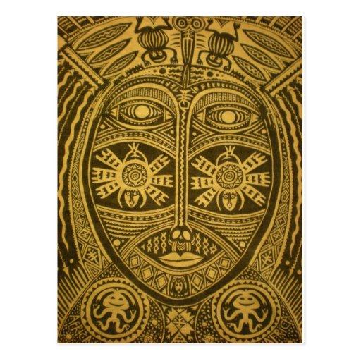 Máscara adornada, única, detallada, artsy, tribal tarjeta postal