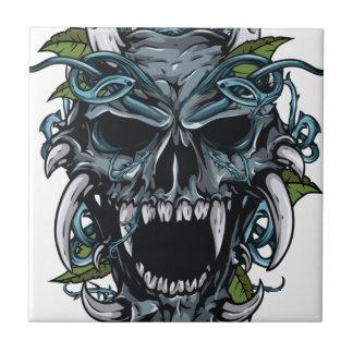 Máscara asustadiza del cráneo malvado del horror azulejo cuadrado pequeño