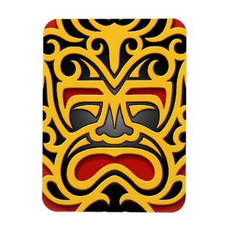 Máscara azteca amarilla imán de vinilo