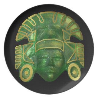 Máscara azteca antigua de Sun Platos Para Fiestas