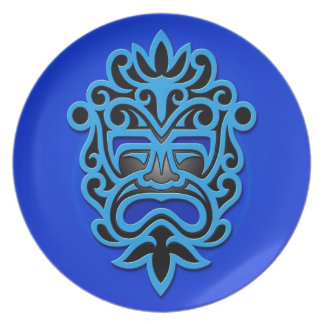 Máscara azteca azul plato de cena