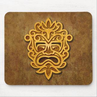 Máscara azteca de piedra alfombrillas de ratón