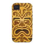 Máscara azteca de piedra, por completo iPhone 4/4S funda