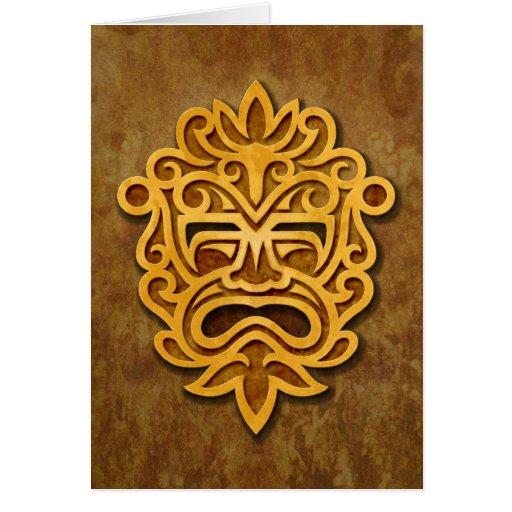 Máscara azteca de piedra tarjeton