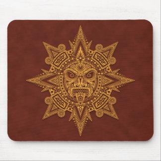 Máscara azteca de Sun (amarillo y rojo) Tapetes De Raton