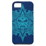 Máscara azteca de Sun, azul iPhone 5 Case-Mate Funda