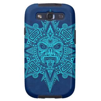 Máscara azteca de Sun, azul Galaxy S3 Carcasas