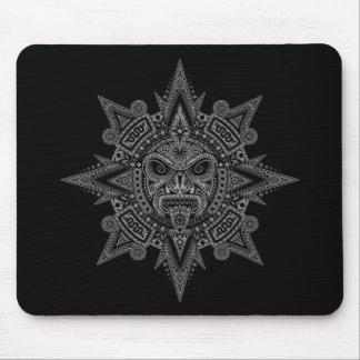Máscara azteca de Sun (negro y gris) Mouse Pad
