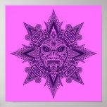 Máscara azteca de Sun púrpura y rosada Posters