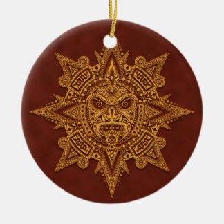 Máscara azteca de Sun - rojo de oro Adorno Redondo De Cerámica