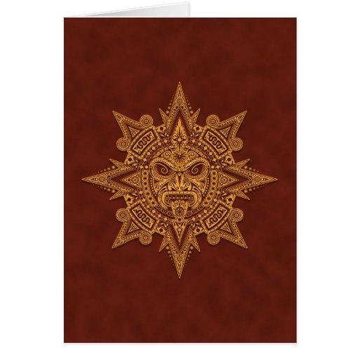 Máscara azteca de Sun - rojo de oro Tarjeta