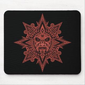 Máscara azteca de Sun (rojo y negro) Alfombrilla De Ratones