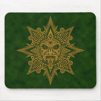 Máscara azteca de Sun (verde) Tapete De Raton